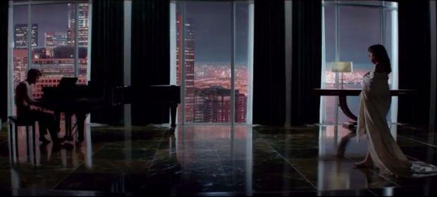 Still uit de film 'Fifty shades of Grey' die in februari in de zalen komt.